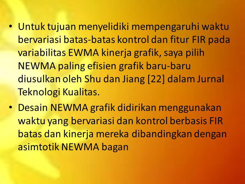 Untuk tujuan menyelidiki mempengaruhi waktu bervariasi batas-batas kontrol dan fitur FIR pada variabilitas EWMA kinerja grafik, saya pilih NEWMA paling efisien grafik baru-baru diusulkan oleh Shu dan Jiang [22] dalam Jurnal Teknologi Kualitas.